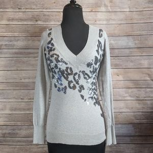 Express Gray Leopard Sequin Sweater